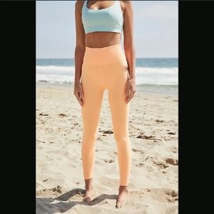 Free People Good Karma 7/8 leggings in neon orange
